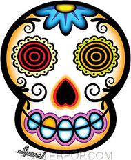 Artist Chico Von Spoon White Sugar Skull Car Sticker Decal by Poster Pop. Day of the Dead Muertos Skull Tattoo Folk Art