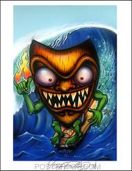 Von Franco Surfin Tiki Signed Artist Print  8-1/2 x 11 Image