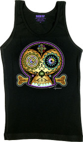 10b9159d4d14f Chico Von Spoon 3C Sugar Skull Woman s Boy Beater Tank Top Image