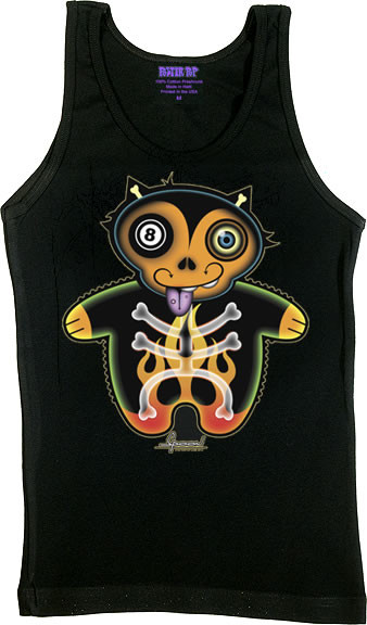 Chico Von Spoon 8 Ball Cat Woman's Boy Beater Tank Top Image