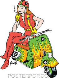 Kozik Scooter Girl Sticker Image