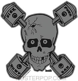 Kozik Sick Piston Skull Sticker Image