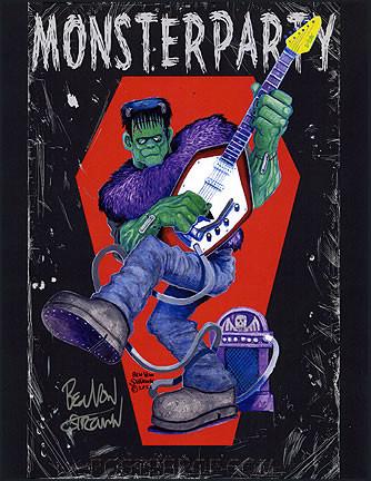 Ben Von Strawn Monster Party Hand Signed Artist Print Image