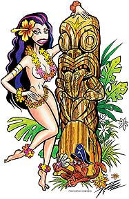Pizz Tiki n Hula Girl Sticker Image