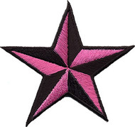 Star 3-D Pink-Black Patch Image