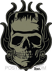 Artist Robert Kruse Franken-Skull Car Sticker Decal by Poster Pop. Frankenstein Skull with Pinstripe Kustom Hotrod Flames