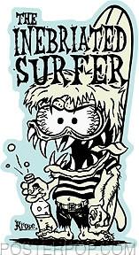 Artist Robert Kruse Inebriated Surfer Sticker by Poster Pop. 60's Cartoon Surfer with Surfboard and Soda Pop, Beer Bottle.