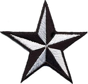 Star 3-d White-Black Patch Image