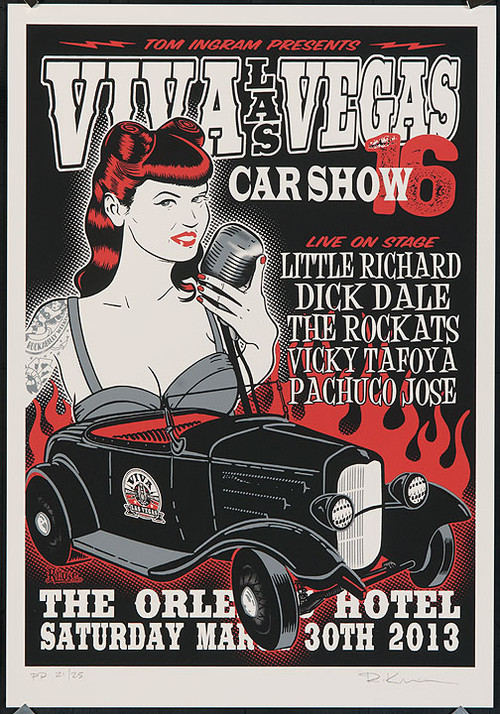 Copy of Rob Kruse Little Richard, Dick Dale, VLV16 Silkscreen Car Show Poster 2013 Image