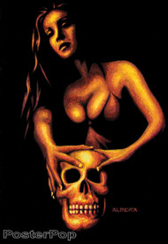 Almera Taboo Sticker. Marco Almera Black Velvet Painting Woman and Skull. Image