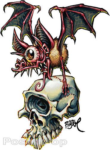 BigToe Skull Bat Sticker Image