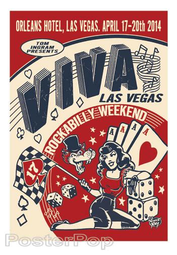 Viva Las Vegas VLV17 Silkscreen Event Poster 2014 by Vince Ray