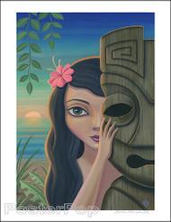 Aaron Marshall Traditional Hula Girl Hand Signed Artist Print