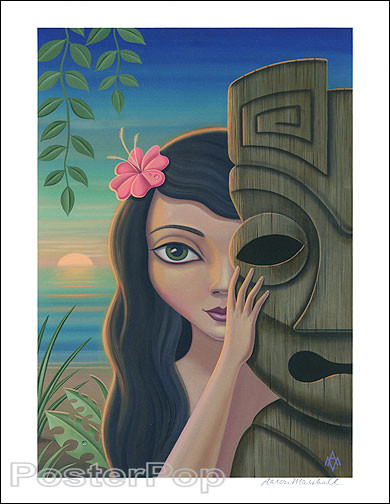 Aaron Marshall Traditional Hula Girl Hand Signed Artist Print