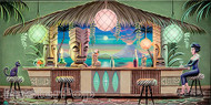 Aaron Marshall Tiki Bar Gallery Wrapped Stretched Canvas Fine Art Print Image