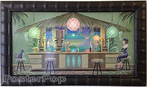 Aaron Marshall Tiki Bar Limited Edition Fine Art Print Framed Image