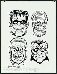 Ben Von Strawn Original Blackline - 4 Monsters  Image