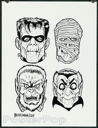 Ben Von Strawn Original Blackline - 4 Monsters  Image