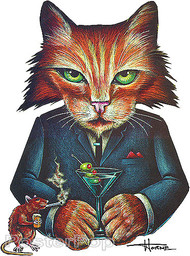 Doug Horne Drinking Cat Smoking Rat Sticker Image
