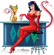 Doug Horne Devil Girl and Her Cat Sticker Image