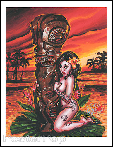 BigToe Tiki Maiden Signed Artist Print Image. Island Scene with Tiki and Nude Pinup Girl