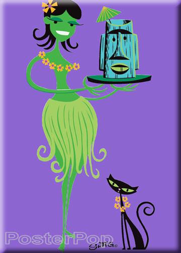 Artist Josh Agle Shag Green Wahini Fridge Magnet josh Agle Hula Girl with Tiki Mug and Shag Cat by Poster Pop PURPLE
