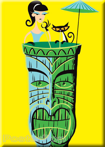 Artist Josh Agle Shag Tiki Drink Fridge Magnet. Shag Girl and Shag Cat sipping Alcohol in a Shag Tiki Mug, with Umbrella by Poster Pop YELLOW