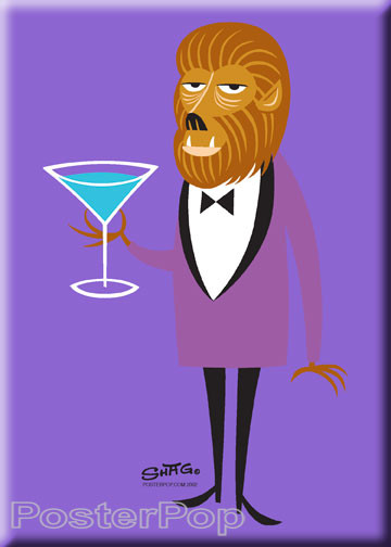 Shag Martini Wolf Fridge Magnet. Shag Wolfman Cartoon character with Oversized Martini Glass Image PURPLE