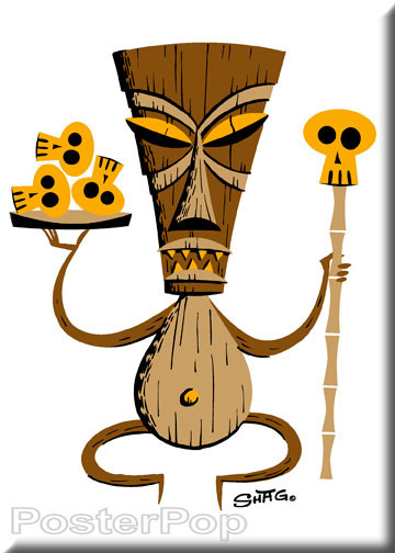 Shag Brown Tiki Fridge Magnet. Shag Tiki with Skulls and Staff Image WHITE