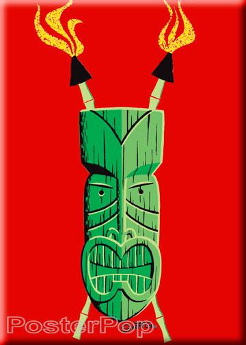 Shag Josh Agle Heavily Stylized Green Tiki Fridge Magnet. Green Tiki with Crossed Tiki Torches Image RED