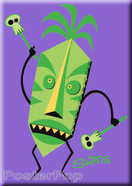 Artist Shag Tiki Doctor Magnet. Josh Agle Original Tiki Tribal, Witch Doctor character with Skulls by Poster Pop PURPLE