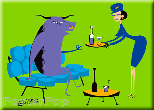 Shag Sky Lounge Fridge Magnet. 50's Mid Century Modern Stewardess, Chair and Bull being Served Drinks GREEN
