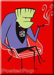 Shag Smokenstein, Smoking Frankenstein Fridge Magnet. Josh Agle Stylized character of Frankenstein Monster, Mod Century Modern Chair and Smoking Jacket RED