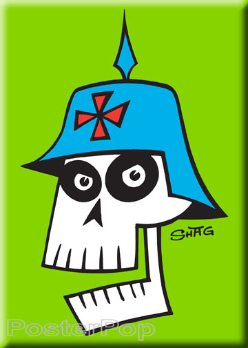 Shag German Skull Fridge Magnet. Josh Agle Stylized Skull in German WWI Kaiser German Helmet and Iron Cross GREEN
