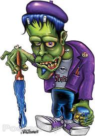 Von Franco Frankenstein I Stripe Sticker, Pinstriper, Ed Roth Monster, Wacky, Paint Brush, Von Dutch, Beatnik