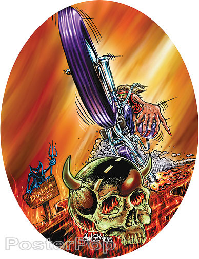 Von Franco Wheelie Skull Sticker, Motorcycle, Biker, Desert Skull, Hell, Painting Design