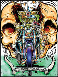 Von Franco Splitting Lanes Sticker, Motorcycle, Biker, Chopper, Skull, split, Break Skulls, 60's, Ed roth, Sticker