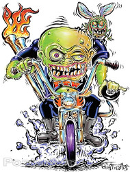 Von Franco Fly Biker Sticker. Igor, Biker, Monster on a Motorcycle Chopper in 60's Ed Big Daddy Roth Original Style