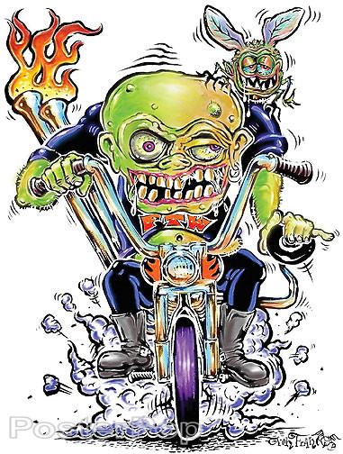Von Franco Fly Biker Sticker. Igor, Biker, Monster on a Motorcycle Chopper in 60's Ed Big Daddy Roth Original Style