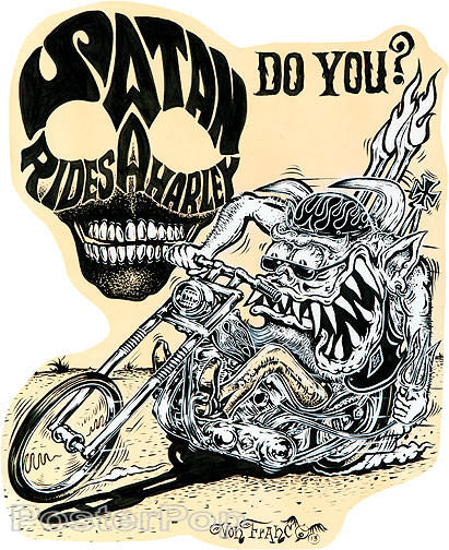 Von Franco Santa Rides Sticker. Monster 60's Ed Big Daddy Roth style Sticker Design with Monster Canta Claus Biker riding a Harley Chopper Motorcycle with Text Skull