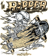 Von Franco Ripper Sticker, Skeleton, Skateboarder, Skatered Roth Style Sticker, Decal