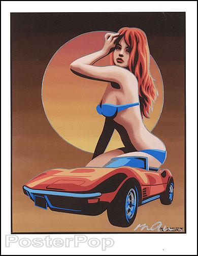 Almera 70s Vette Hand Signed Artist Print Image