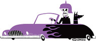 Artist Shag German Sports Sticker, Purple, Skeleton, Skull, Doberman, Dog, Josh Agle, Cartoon Image
