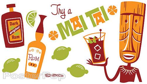 Shag Mai Tai Sticker, Tiki Drink, Rum, Fun, Josh Agle, Image