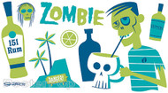 Shag Zombie Sticker, Drink Recipe, Shrunken Head, Skull Mug, Tiki Drink Bar Image