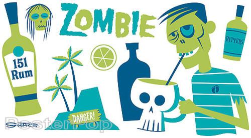 Shag Zombie Sticker, Drink Recipe, Shrunken Head, Skull Mug, Tiki Drink Bar Image