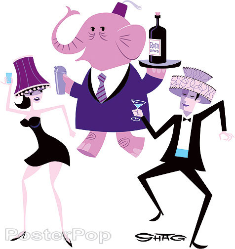 Shag Pink Elephant Party Sticker, Drinking, Lampshade, Dancing, Image