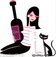 Shag Rum Girl with Cat Sticker, Bottle, Drinking, Drunk, Shag Cat, Josh Agle Image