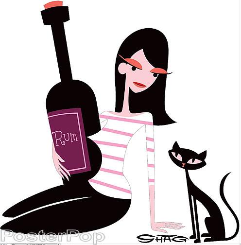 Shag Rum Girl with Cat Sticker, Bottle, Drinking, Drunk, Shag Cat, Josh Agle Image