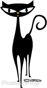 Shag Walking Cat Sticker, Shag Cat, Image
